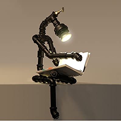 WENBO HOME- Industrial Bar Cafe Retro Water Table Lamp Creative Personality Iron Robotic Lamps -Desktop lamp