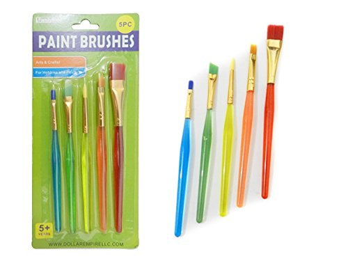 5 PC Artist Paintbrushes Transparent color handles Sizes: 5.25'' L - 6'' L , Case of 144 by DollarItemDirect
