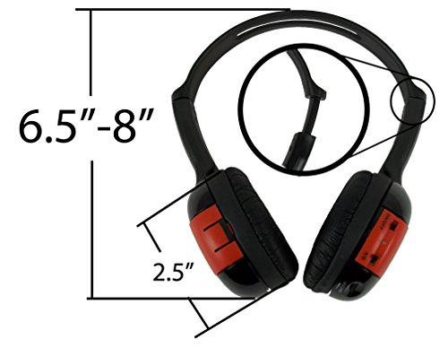 2 Pack Kid Sized Wireless Infrared Universal Car DVD IR Automotive Colored Adjustable 2 Channel Headphones With Case and 3.5mm Auxiliary Cord by Wisconsin Auto Supply (Image #4)