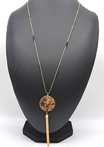 CL1480D - Sautoir Collier Fine Chaîne Perles et Pendentif Arbre de Vie Ajouré avec Cristaux et Chaînes Métal Doré