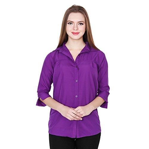 Teemoods Women #39;s Crepe Casual Solid Purple Shirt
