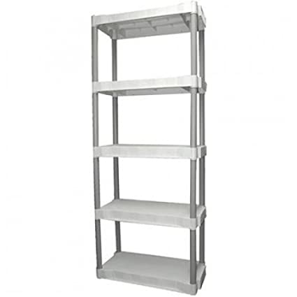 official photos 95d37 6742f Plano 5 Tier Free Standing Shelf Plastic Storage Unit, Light Taupe