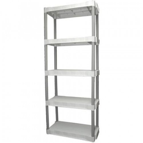 Plano 5 Tier Free Standing Shelf Plastic Storage Unit, Light Taupe