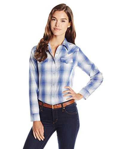 Wrangler Women's Western Fashion Shirts, Navy Plaid, Medium