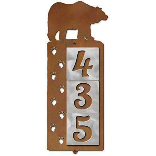 (Cold Nose Creations Bear Tracks Rustic Metal Plaque with Vertical Custom Address Number Tiles)