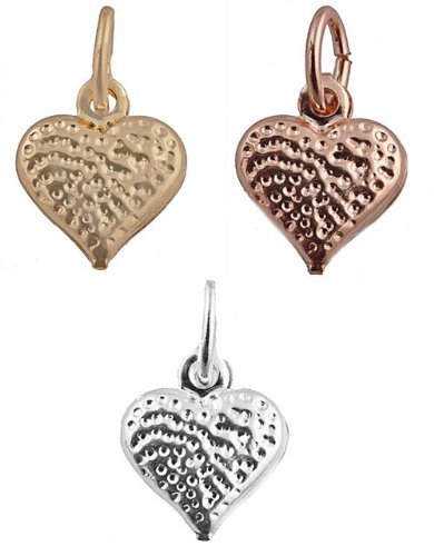 2 Pieces of Small Gold Overlay Three in One Set Gold, Rosegold, and Silvertone Mini Heart - Two Year Warranty (T-132) ()