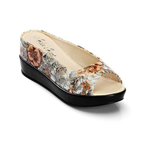 Floral Print Wedge - Women's Golden Hint Floral Print Hidden Wedge Slide Sandal Without Buckle, 8127-B6, Floral, Size 5