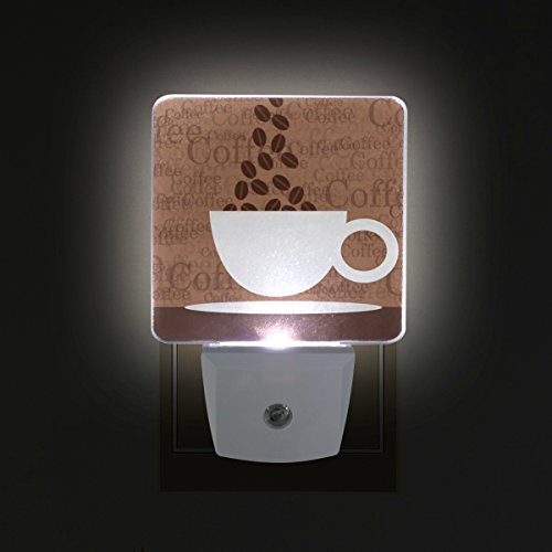 Set of 2 Plug in LED Night Light with Smart Dusk to Dawn Sensor Coffee Cup Night Lamp for Bedroom Baby Room Kitchen Hallway and Stairway