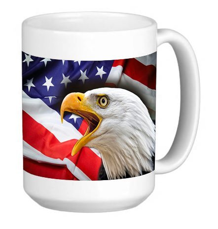 Bald Eagle Flag 15 Ounce Ceramic Coffee Mug Tea Cup