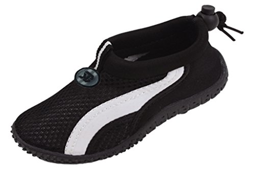 Starbay New Brand Toddler's Black Athletic Water Shoes Aqua Socks with White Streak Size 6