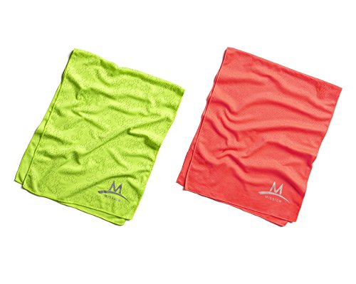 Mission Enduracool Reflective Techknit Cooling Towel (Large, Hi Vis Coral & Hi Vis Green) by Mission