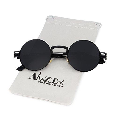 Métal Gris Lunettes en Vintage Armature Noir Soleil Cadre Lunettes Steampunk Lentille Rondes de AMZTM n6WYfpx