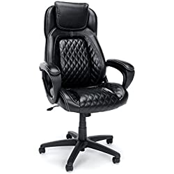 Essentials High-Back Executive Chair - Racing Style Leather Office Chair with fixed Arms, Black (ESS-6060)