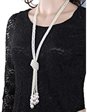 Women's Necklace Elegant All Match Vogue Imitation Pearls Long Pattern Accessory
