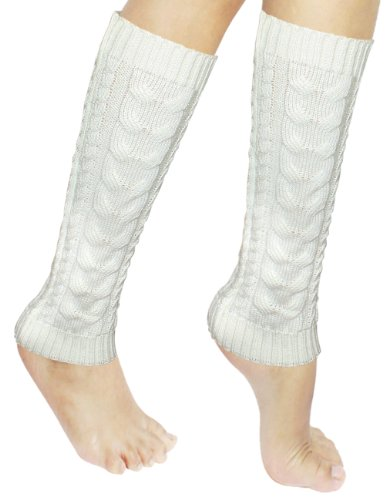 Warmers Acrylic Leg (Dahlia Women's Cable Knit Leg Warmers - White)