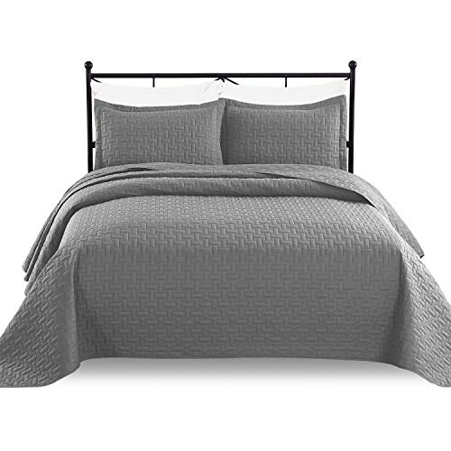 Luxe Bedding 3-piece Oversized Quilted Bedspread Coverlet Set (King/CalKing, Gray)