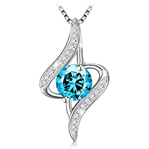 J.Rosée Women's Blue Cubic Zirconia Twist Pendant Necklaces and Stud Earrings Jewelry Gifts with Packing