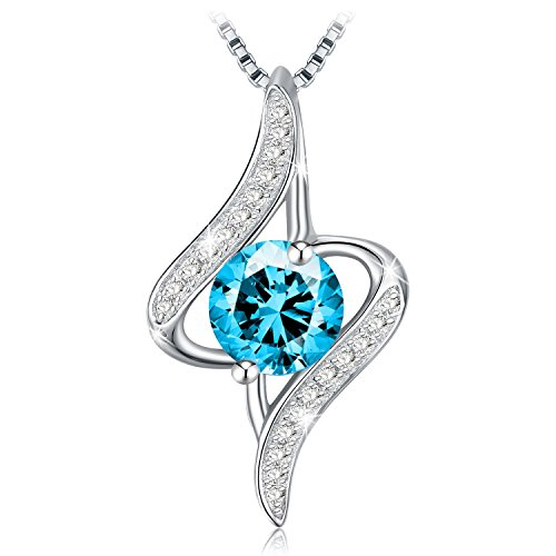 - Necklace, J.Rosée Women's Blue Cubic Zirconia Twist Pendant Necklaces with 925 Sterling Silver Chain Jewelry Gifts with Packing
