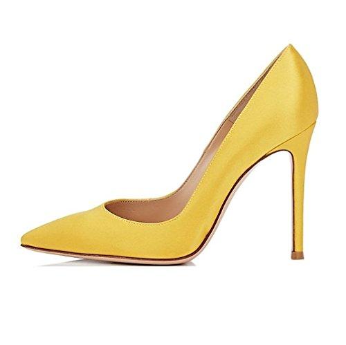 Sammitop Women's Pointed Toe Satin Pumps Slip On High Heel Wedding Dress Shoes Yellow US10