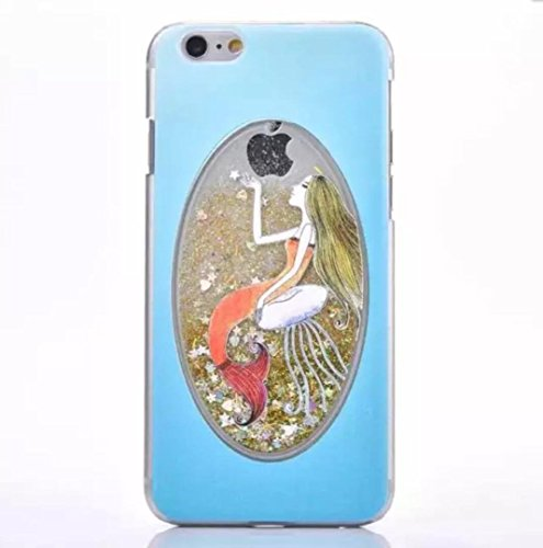 iPhone 6/6S Plus Mermaid Lucky Shell, OMORRO New Oval Attractive Glitter Flowing Floating Quicksand Dynamic Moving Liquid Stars Paillette Fashion Protect Case for Apple iPhone 6/6S Plus Gold