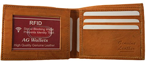Card Credit Cowhide Rfid Flap Bifold Wallet Security Tan Blocking Leather Mens Id Y0wxEq7