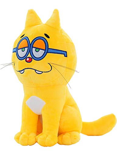 LETGO Child Girl Boy Plush Cats Toy,Realistic Looking Cute Yellow Stuffed Animal Cats with Glass for Christ Gift or Party Supply Accessory (Sit Down Cat)