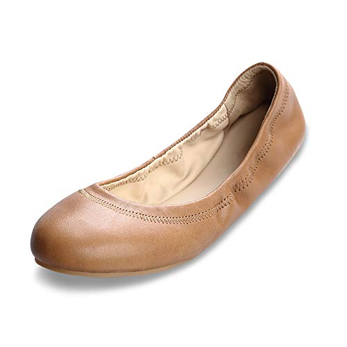 Lambskin Leather Platforms (Xielong Women's Chaste Ballet Flat Lambskin Loafers Casual Ladies Shoes Leather Coffee 12)