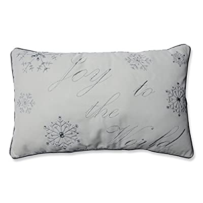 Pillow Perfect 'Joy to The World' Embroidered Rectangular Throw Pillow, Silver/White - Includes one (1) decorative pillow with embroidery, glass beads, and hand-tied bows; suitable for indoor use Plush Fill - 100-percent polyester fiber filling Edges of decorative pillow feature coordinating trim - living-room-soft-furnishings, living-room, decorative-pillows - 41UaQmAKUjL. SS400  -