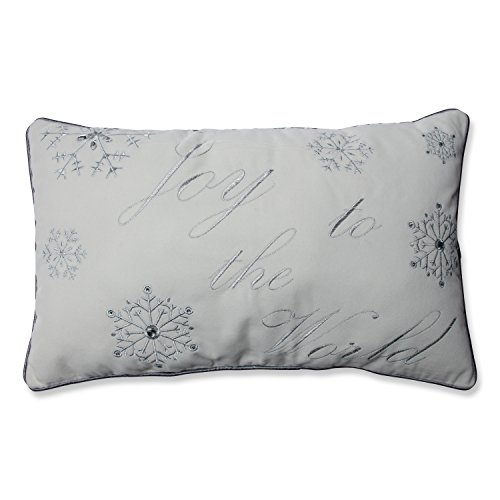 Pillow Perfect 'Joy To The World' Embroidered Rectangular Throw Pillow, Silver/White