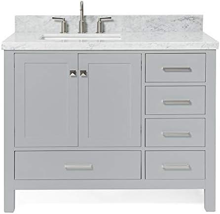 ARIEL 43″ inch Left Offset Rectangle Sink Grey Bathroom Vanity Cabinet
