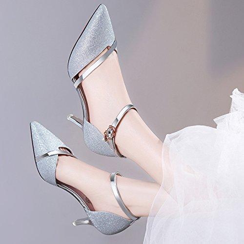 Tacones Tacón Mujer de Noche Silver de HUAIHAIZ Alto Chicas A Sexy Zapatos Sandals Zapatos Señoras wFzdaq
