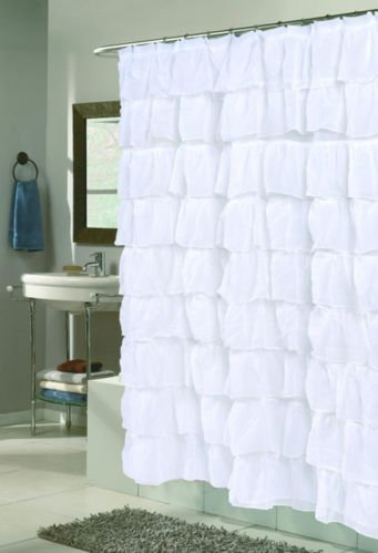 Shower Gypsy Curtain (Lorraine Home Fashions 08383-SC-00001 Gypsy Shower Curtain, White, 70