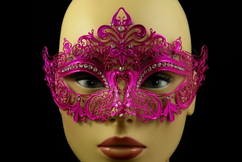 Extravagant Halloween Costumes (Laser Cut Venetian Halloween Masquerade Mask Costume Extravagant and Elegant Finely Detailed Inspire Design - Hot Pink w/)