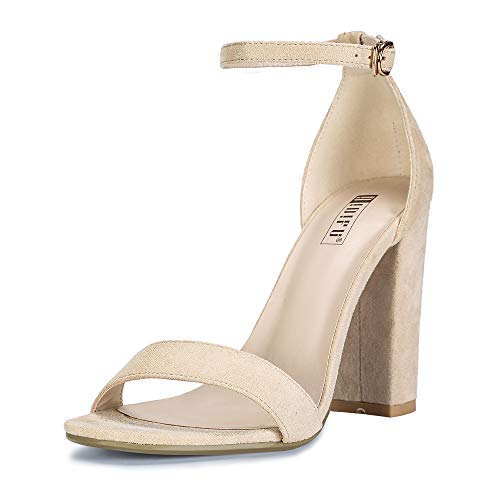 IDIFU Women's IN4 Cookie-HI Open Toe High Chunky Block Heel Pump Sandal (Nude Suede, 9.5 B(M) US)