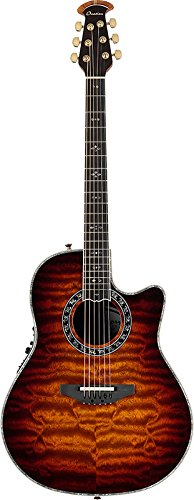 Ovation ExoticWoods Collection 6 String Acoustic-Electric Guitar, Right, Sapele Tobacco Burst, Deep Contour Body (C2079AXP-STB)