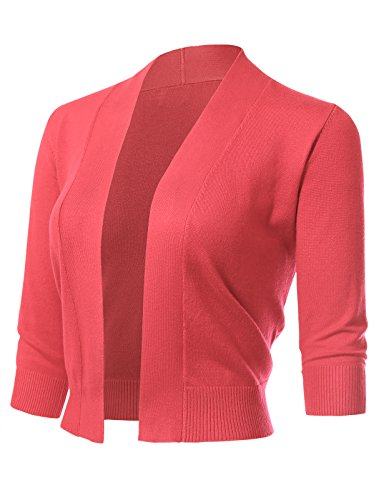 ARC Studio Women's Classic 3/4 Sleeve Open Front Cropped Cardigans (S-XL) S Coral