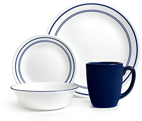 Corelle 071160007222 Livingware Classic Cafe 16 Piece Dinnerware Set Color: Blue, Service for 4, ()