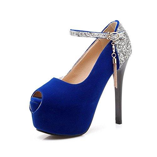 Hebilla AllhqFashion Azul Surtidos Sandalia aguja de Peep Sintético Mujeres Tacón Colores wvq1vIr