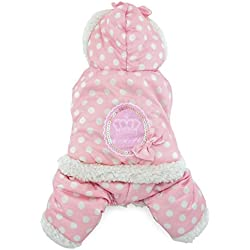 SMALLLEE_LUCKY_STORE Petmall Dog Cat Warm Fleece Lined Hooded Coat Jacket Polka Dot Jumpsuit, Medium, Pink