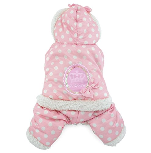 (SMALLLEE_LUCKY_STORE Petmall Dog Cat Warm Fleece Lined Hooded Coat Jacket Polka Dot Jumpsuit, Small, Pink)