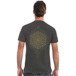 SOL Peyote Men's 100% Graphic T-Shirt with Exclusive Psychedelic Mandala Design - Alternative Clothing in Grey - Medium