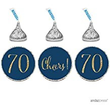 Andaz Press Gold Glitter Print Chocolate Drop Labels Stickers, Cheers 70, Happy 70th Birthday, Anniversary, Reunion, Navy Blue, 216-Pack, Not Real Glitter, For Hershey's Kisses Party Favors