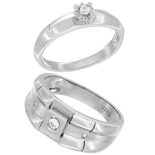 Sterling Silver Cubic Zirconia Engagement Rings Set for 9 mm Him & Hers 4 mm Ribbed Design, size (4mm Ribbed Wedding Band Ring)
