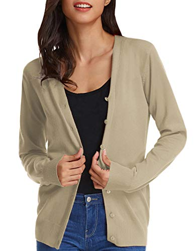 GRACE KARIN Women's Casual Long Sleeved Open Front Cardigan Sweaters(XL,Camel)