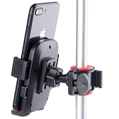"""B-Land Tripod Arm Mounted Cell Phone Holder for YouTube Video & Selfie, Bike Phone Mount for Motorcycle - Bike Handlebars, Fits iPhone X, 8   8 Plus, 7   7 Plus, Galaxy S7, S6, S5 & Phones Up to 3.5"""""""