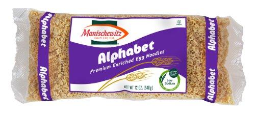 Manischewitz Alphabets Egg Noodles, 12 Ounce (Egg Alphabet)