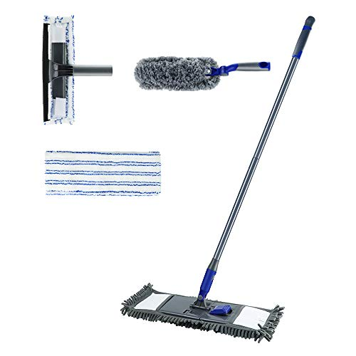 (Microfiber Flat Mop with 2 Mop Pads for Hardwood Floor Cleaning 3PCS Cleaning Sets with Duster & Window Squeegee Masthome)