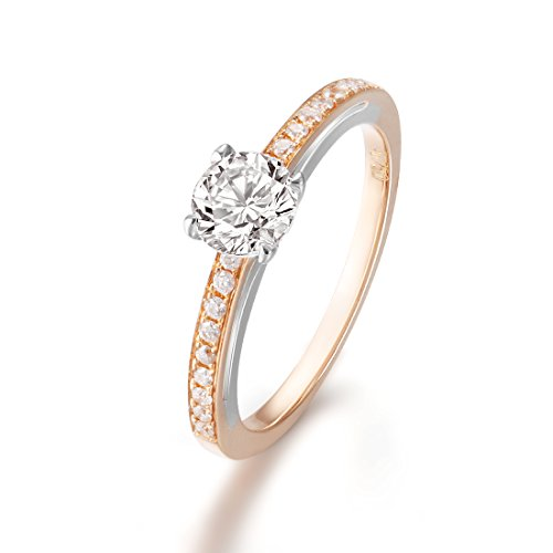 (Solid 18K Rose Gold 0.5 Carat Round Cut Diamond Engagement Ring 0.50cttw Pavé Diamond Ring for Women (0.70cttw, E Color, SI Clarity) Size 8)