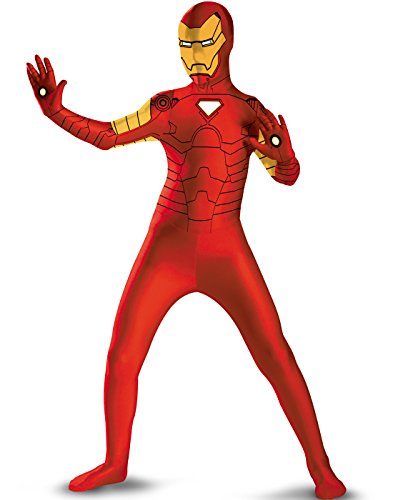 Deluxe Superhero Full Bodysuit Adult Costume Iron Man - Red and Gold - X-Large - Iron Man Super Deluxe Costumes