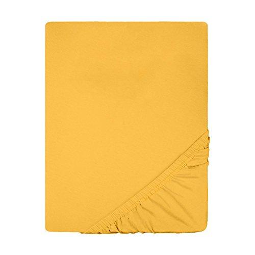 Spannbettlaken Jersey Baumwolle | viele Farben alle Größen | Spannbetttuch für Standardmatratzen | 90 x 200 bis 100 x 200 cm CelinaTex 0002779 Lucina mais-gelb